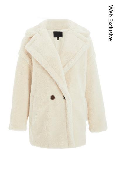 Cream Teddy Bear Oversized Jacket